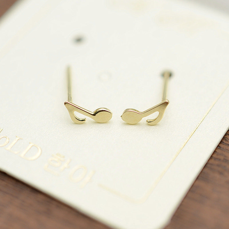 Solid 10K Gold Music Note Stud Earrings 6