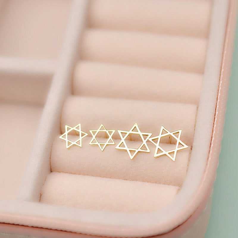 Solid 10K Gold Star of David Earrings Stud
