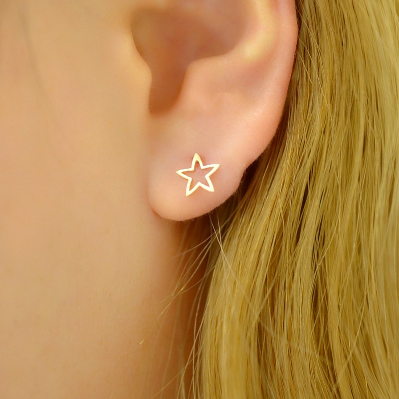 Solid 10K Gold Star and Moon Earrings Stud 3
