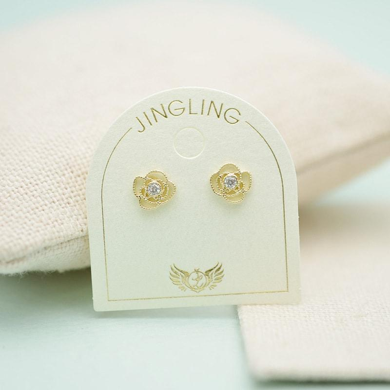 Solid 10K Gold Hollow Roses Stud Earrings 3