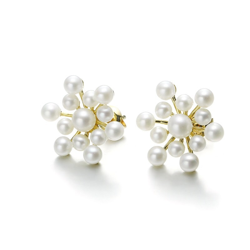 Solid 9K Gold Pearl Fireworks Exaggerated Earrings