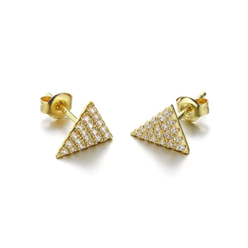 9K Solid Gold Cubic Zirconia Triangle Studs Earrings