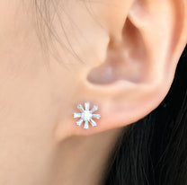 Sterling Silver CZ Mini Flower Earrings Studs