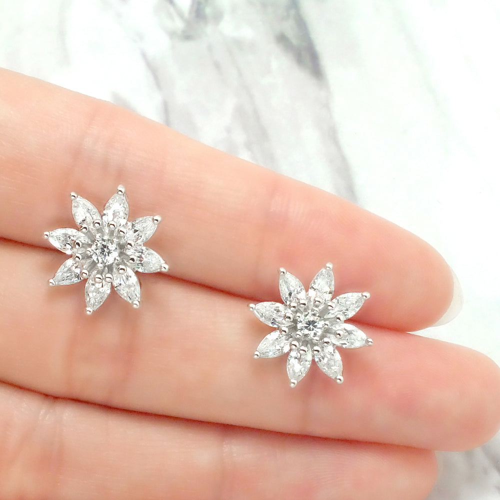 Sterling Silver CZ Luxurious Big Flower Earrings