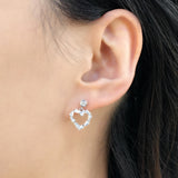 925 Silver CZ big heart Dangling Earrings