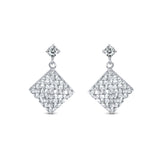High Polished Bezel Settings CZ Earrings Dangling