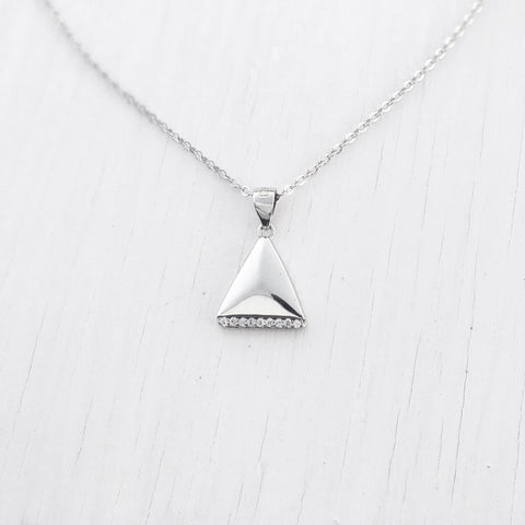 Sterling Silver CZ Fashion Triangle Pendant Necklace