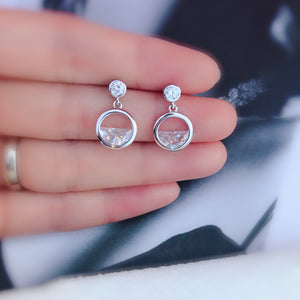 Sterling Silver Cubic Zirconia Round Bezel Dangle  Earrings 2