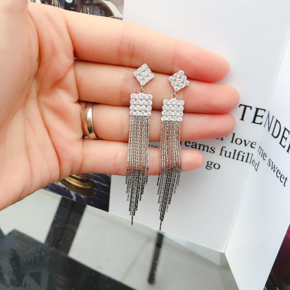 Drop 925 Sterling Silver CZ Tassel Earrings Dangle for party 2