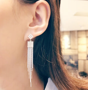 Drop 925 Sterling Silver CZ Tassel Earrings Dangle for party