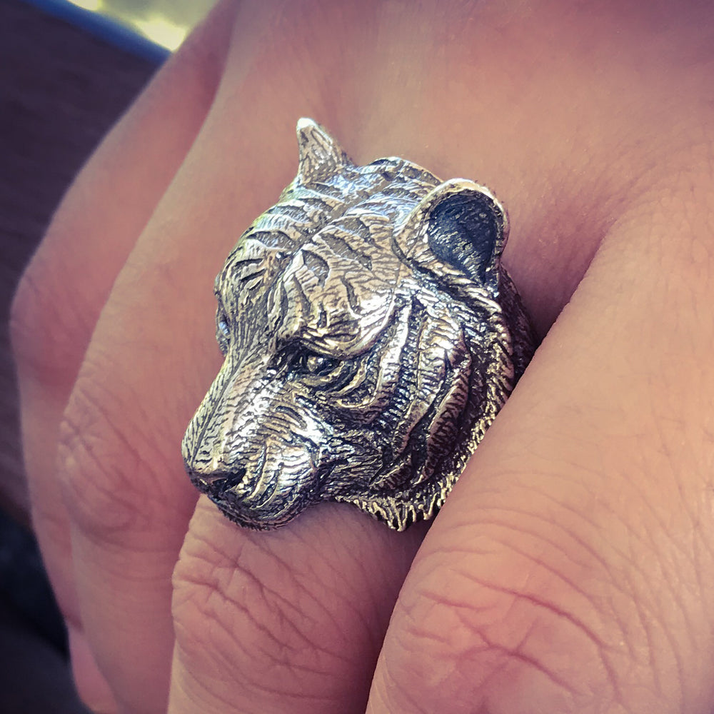 Solid Sterling Silver Tiger Ring for Men 4