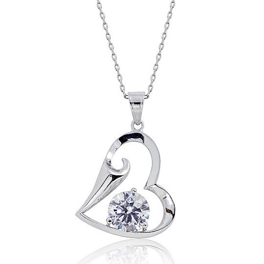 Sterling Silver 3.35 Carat Cubic Zirconia Heart Pendant Necklace 16