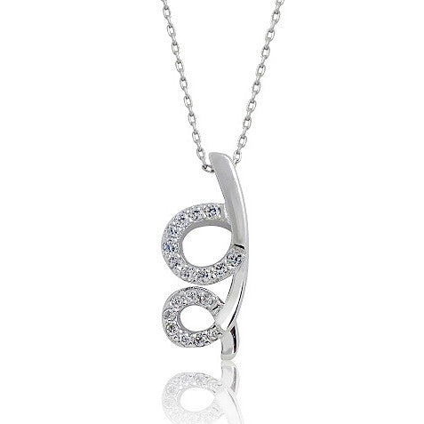 "Unique 925 Sterling Silver 0.72 Ct Cubic Zirconia Pendant Necklace 16""+ 2"" - Jewelry - Prjewel.com - 1"