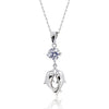 Gracious 925 Sterling Silver CZ Double Dolphin Pendant Necklace 16