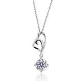 "Beautiful 3.35 Carat CZ 925 Sterling Silver Pendant Necklace 16""+ 2"" Extender - Jewelry - Prjewel.com - 1"