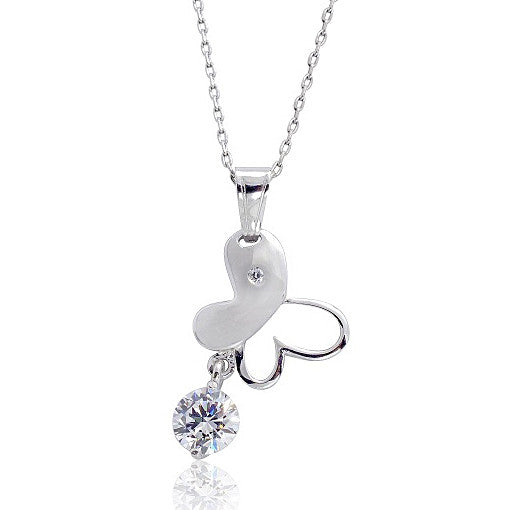 "Cute Butterfly 1.4 Carat CZ 925 Sterling Silver Pendant Necklace 16""+ 2"" - Jewelry - Prjewel.com - 1"