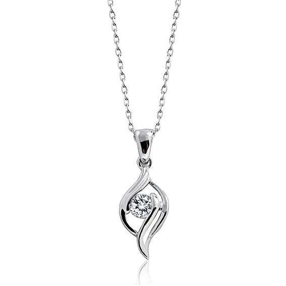 "Classic 925 Sterling Silver 0.45 Carat Cubic Zirconia Necklace 16""+ 2"" Extender - Jewelry - Prjewel.com - 1"