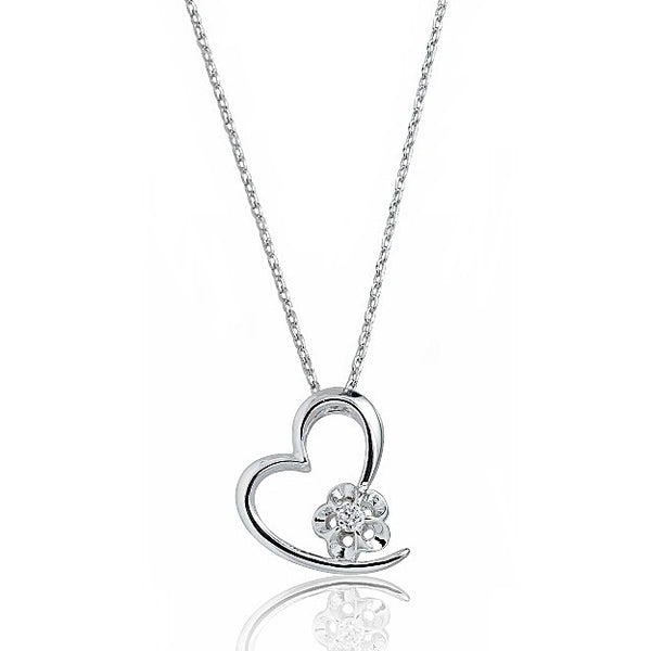 "Beautiful Heart 925 Sterling Silver CZ Pendant Necklace 16""+ 2"" Extender - Jewelry - Prjewel.com - 1"