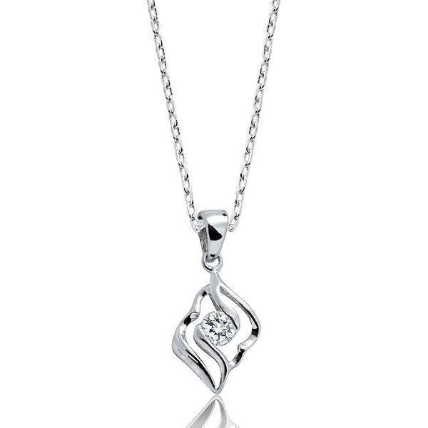 "Classic 925 Sterling Silver CZ Pendant Necklace 16""+ 2"" - Jewelry - Prjewel.com - 1"