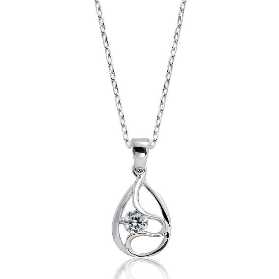 Classic 925 Sterling Silver 0.45 Carat Cubic Zirconia Pendant Necklace 16