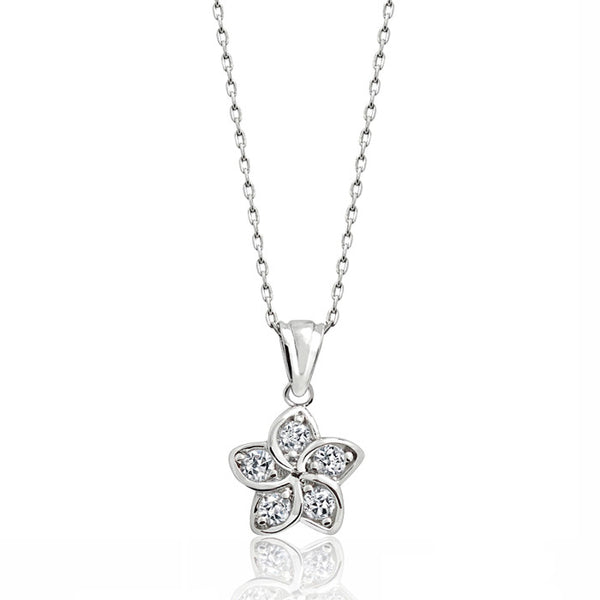 "Sterling Silver Cubic Zirconia Beautiful Flower Pendant Necklace 16""+ 2"" Extender - Jewelry - Prjewel.com - 1"
