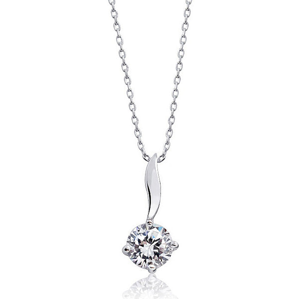 "925 Sterling Silver Solitaire 2.25 Carat Cubic Zirconia Necklace 16""+ 2"" - Jewelry - Prjewel.com - 1"