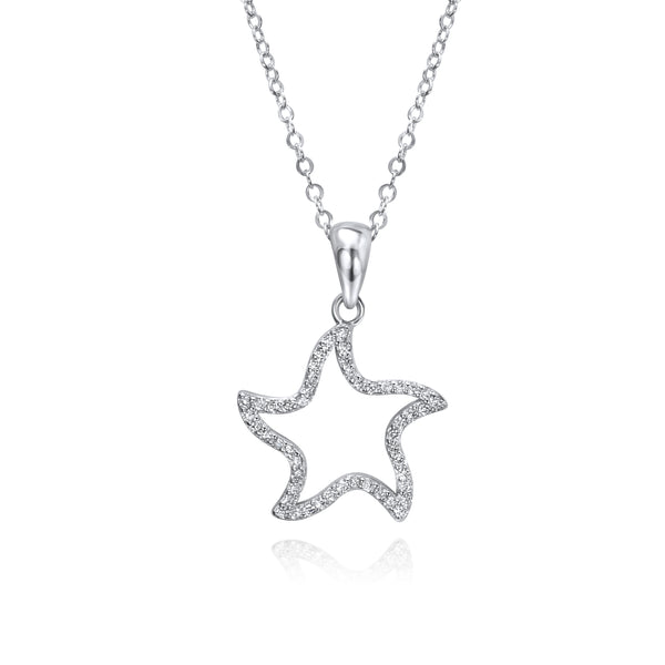 925 Sterling Silver Cz Starfish Pendant Necklace