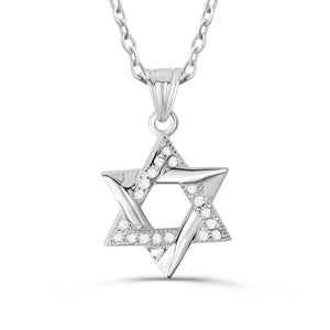 "Sterling Silver Cubic Zirconia Star Of David Necklace 16""+ 2"" Extender 2"