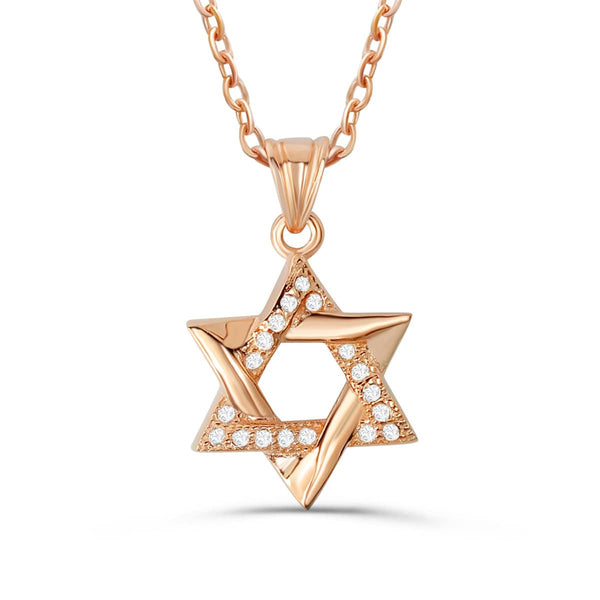 "Rose Gold Plated 925 Sterling Silver CZ Star Of David Pendant Necklace 16""+ 2"" 2"