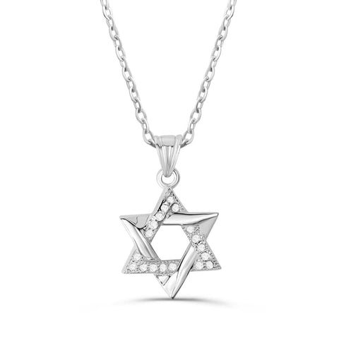"Sterling Silver Cubic Zirconia Star Of David Necklace 16""+ 2"" Extender - Jewelry - Prjewel.com - 1"