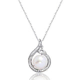 "Elegant 925 Sterling Silver Pearl and CZ Pendant Necklace 16""+ 2"" - Jewelry - Prjewel.com - 1"