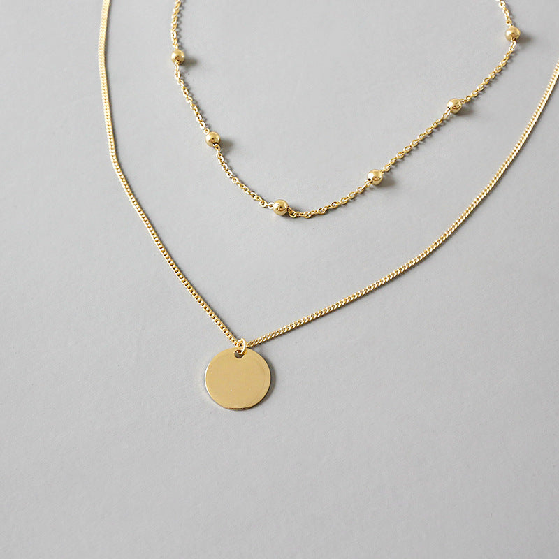 Sterling Silver Layered Disc Pendant Choker Necklace