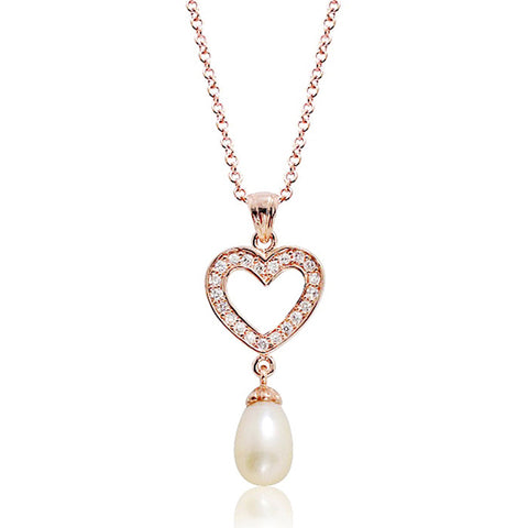 "Cute Heart 8-9mm Pearl CZ Rose Gold Plated Silver Pendant Necklace 16""+ 2"" - Jewelry - Prjewel.com - 1"