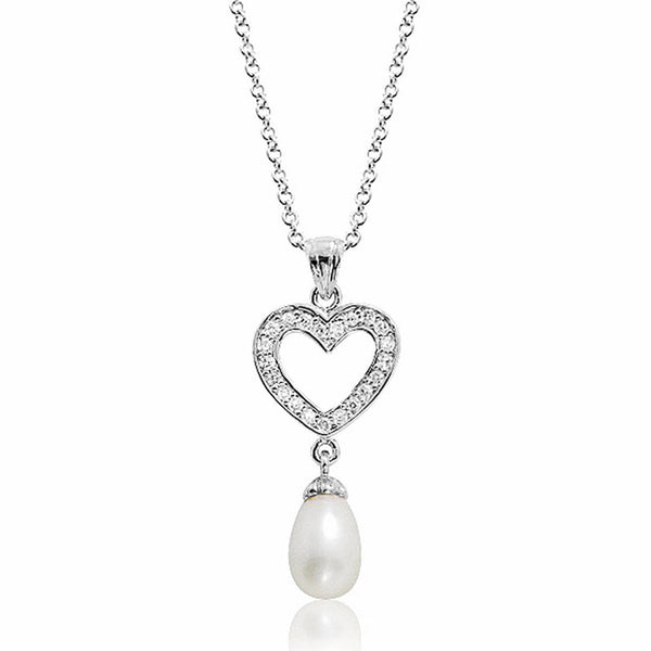 Cute Heart 8-9mm Pearl CZ 925 Sterling Silver Necklace 16