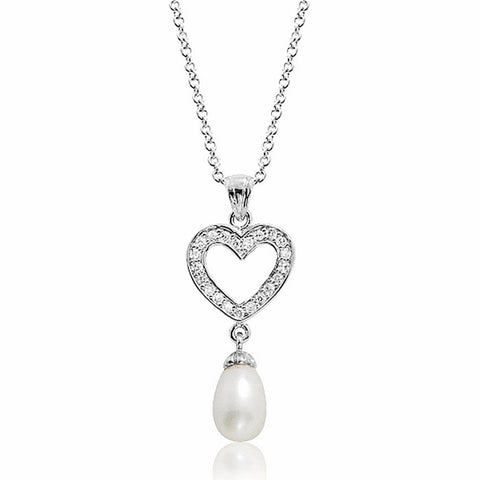 "Cute Heart 8-9mm Pearl 0.6 Carat CZ 925 Sterling Silver Pendant Necklace 16""+ 2"" - Jewelry - Prjewel.com - 1"