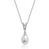 Beautiful 7-8mm Pearl CZ 925 Sterling Silver Pendant Necklace 16