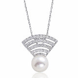 Stunning Sterling Silver CZ Fresh Water Pearl Necklace - Jewelry - Prjewel.com - 1