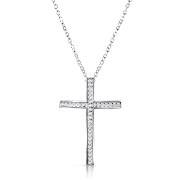 Sterling Silver CZ Classic Cross Pendant Necklace 16