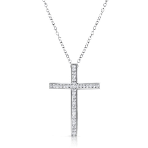 "Sterling Silver CZ Classic Cross Pendant Necklace 16""+ 2"" Extender 2"