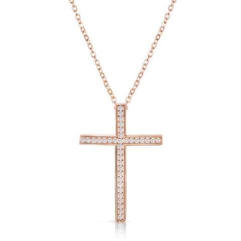 "Rose Gold Plated Sterling Silver CZ Cross Pendant Necklace 16""+ 2"""