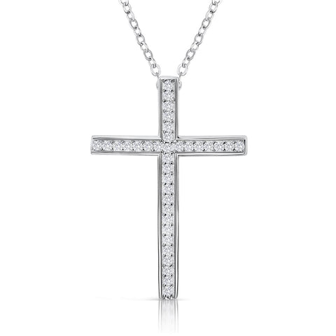 "Sterling Silver CZ Classic Cross Pendant Necklace 16""+ 2"" Extender"