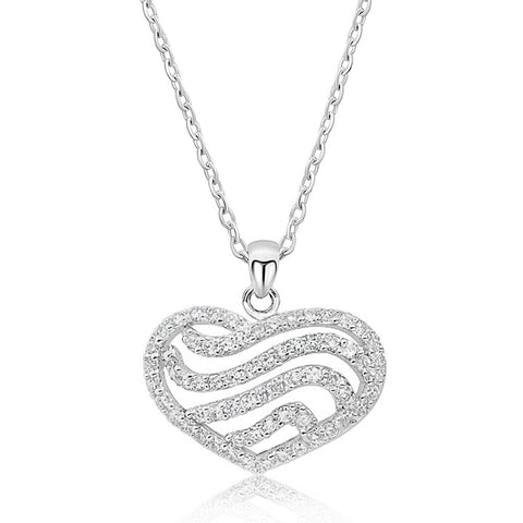 Sterling Silver 2.25 Carat CZ Heart Pendant Necklace 16+ 2 inch