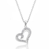 Sterling Silver Cubic Zirconia Beautiful Heart Necklace - Jewelry - Prjewel.com - 1