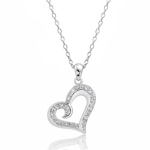 Sterling Silver Cubic Zirconia Beautiful Heart Necklace