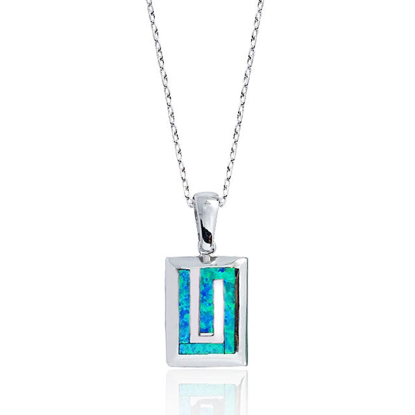"925 Sterling Silver Synthetic Opal Pendant Necklace 16""+ 2"" - Jewelry - Prjewel.com - 1"
