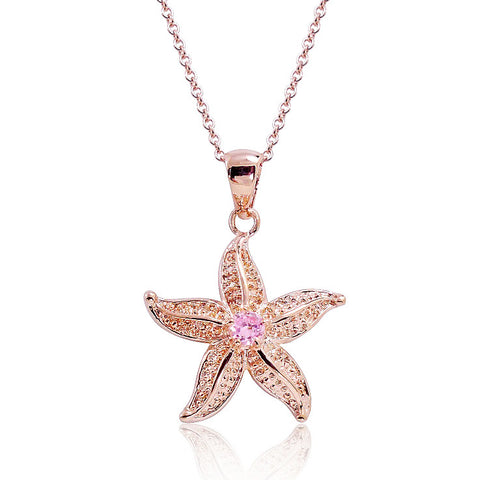 Rose Gold Plated 925 Silver CZ Sea Star Pendant Necklace 16