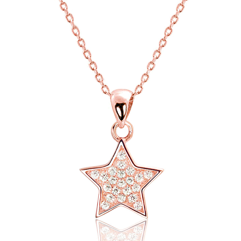 Rose Gold Over 925 Sterling Silver CZ Cute Star Pendant Necklace 16