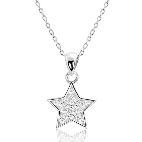"Sterling Silver Cubic Zirconia Cute Star Pendant Necklace 16""+ 2"" Extender - Jewelry - Prjewel.com - 1"