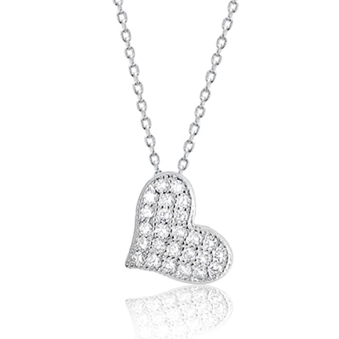 Cubic Zirconia 925 Sterling Silver Beautiful Cute Heart Pendant Necklace