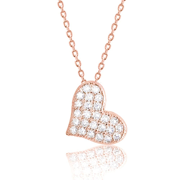 Rose Gold Plated Sterling Silver CZ Beautiful Cute Heart Pendant Necklace